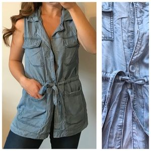 SANCTUARY Light Chambray Denim Utility Vest Medium